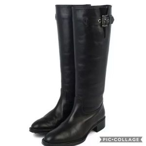 Tod's Knee High Black Buckle Leather Ridding Boots